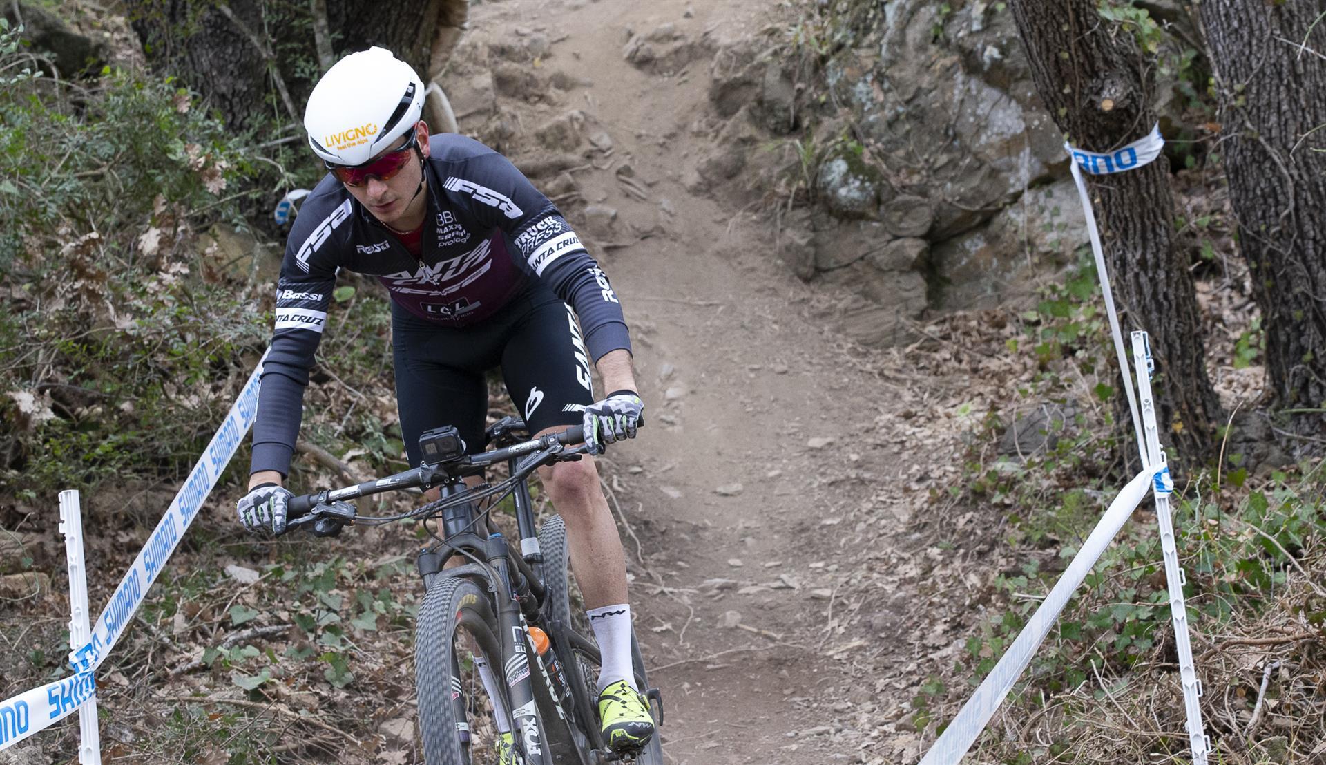l warm up di Gioele Bertolini sul percorso di Andora Race Cup